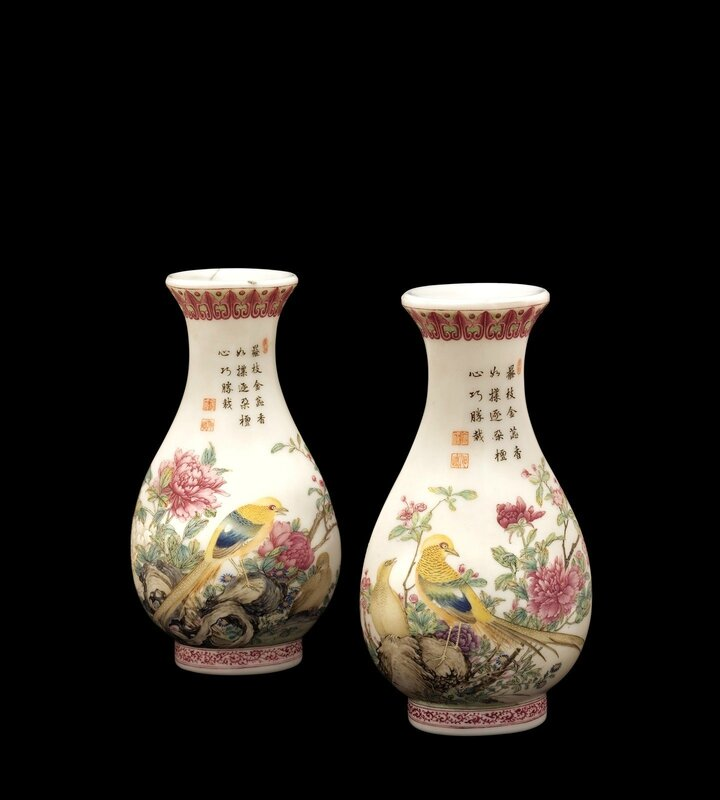 Two Enameled Glass Vases, blue enamel four-character marks of Qianlong (1736-1795), Corning Museum of Glass, 53