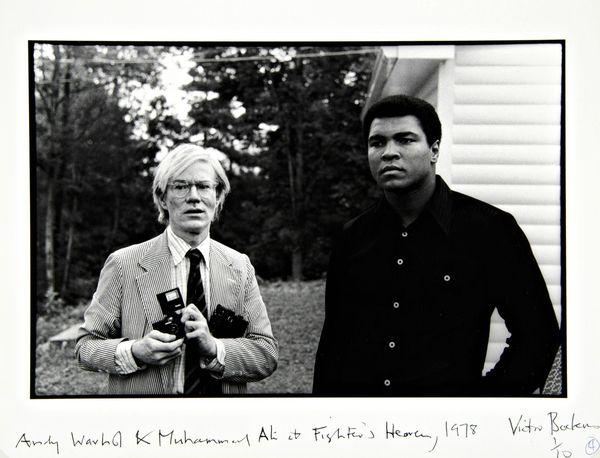 Victor Bockris ~ Andy Warhol & Muhammad Ali at Fighters Haven, 1978