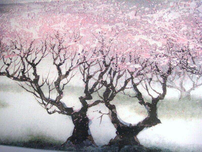 Etole cerisiers fond gris moi zoom cerisiers
