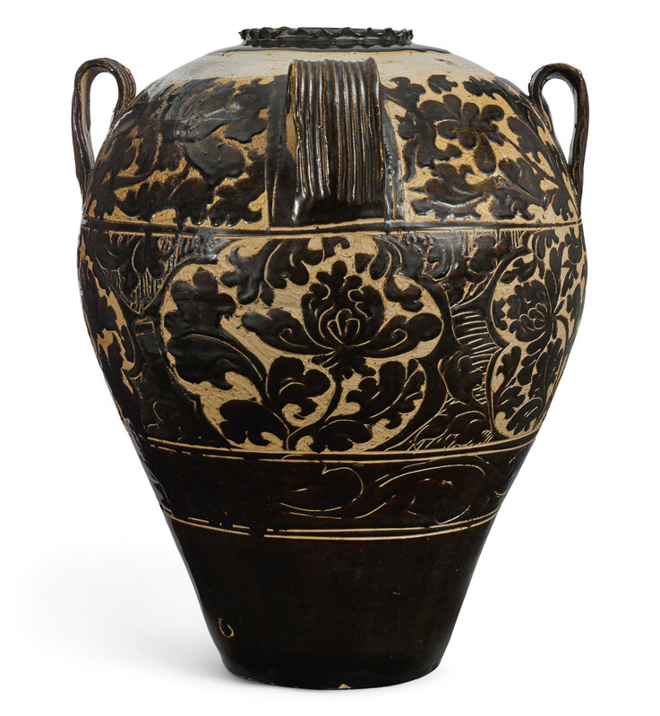 An extremely large and important 'lingwu' cut-glaze wine jar, Xixia dynasty