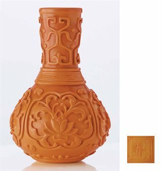a_rare_imperial_carved_opaque_orange_glass_pear_shaped_vase_qianlong_e_d5379606h
