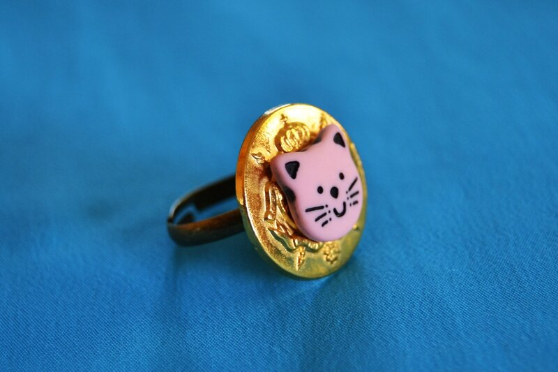 Bague chat rose zoom