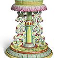 A large famille-rose 'lotus' emblem stand, qianlong seal mark and period (1736-1795)