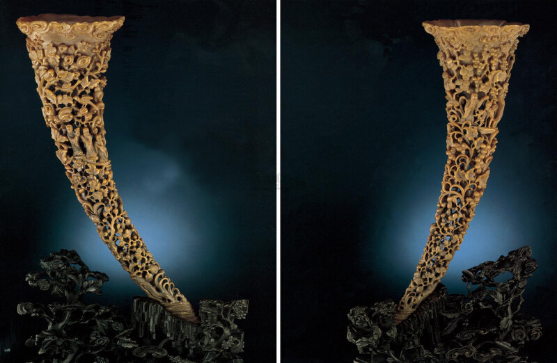 A superbly carved large pair of reticulated full-tip rhinoceros horn carvings, Qing dynasty, 19th century