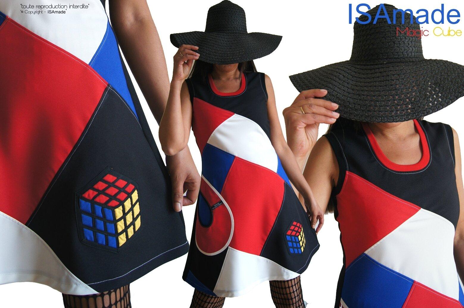MOD 515A Robe patchwork graphique créateur Arty 70s Magic Cube, un Automne aux influences Seventies : la robe »Magic cube » Made in France