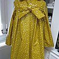 Ciré AGLAE en coton enduit moutarde parsemé d'une pluie de petites étoiles blanches (3)