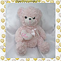 Doudou Peluche Ours Assis Rose Poils Long Coeur Blanc Love