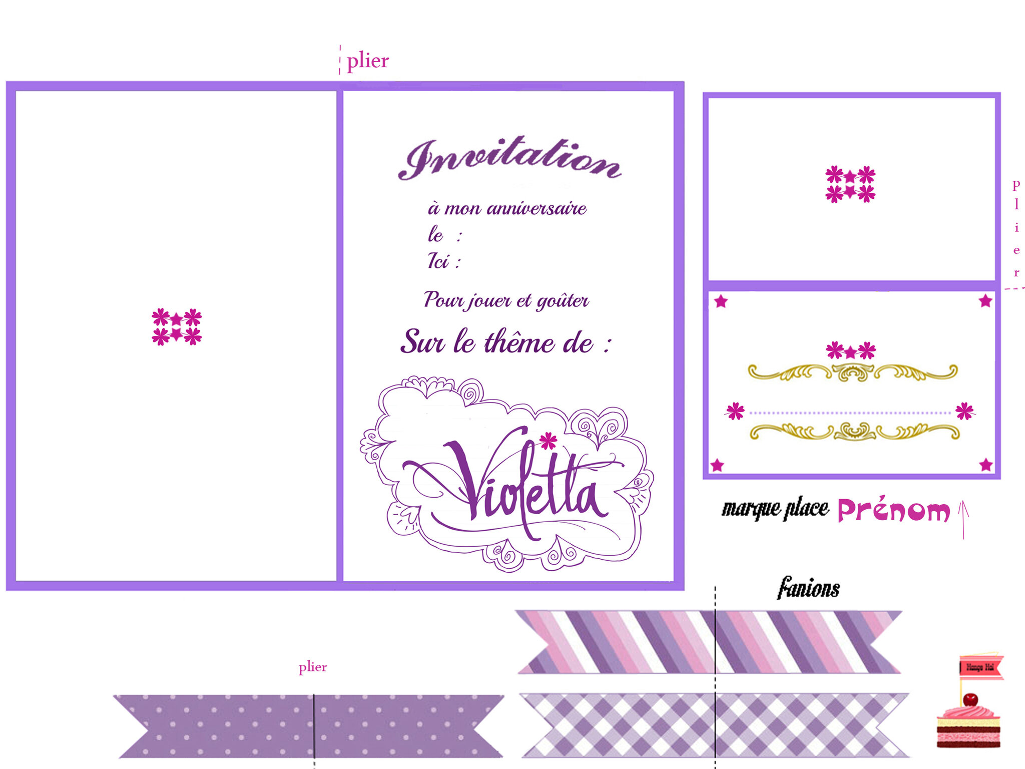 Violetta 1 et 2 et 3 doudous patrons patterns gabarits fete a themes pour enfants - Photo de violetta a imprimer gratuit ...