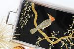 PLATEAU-METAL-ARGENT-Oiseau-or-4-muluBrok-Brocante