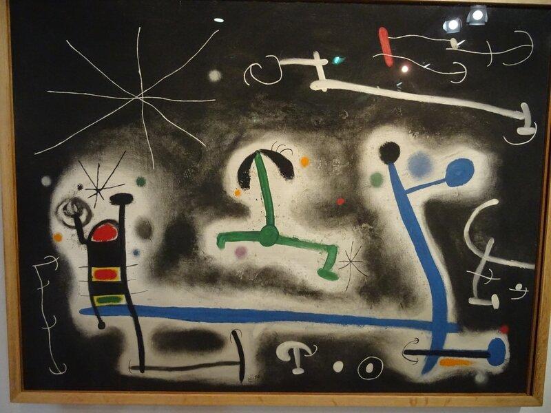 Miró Personnages et oiseaux en fête pour la nuit qui approche 1968