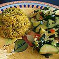 Thailande et inde pour dîner. bok choy et courgettes au cari rouge et riz au curry!
