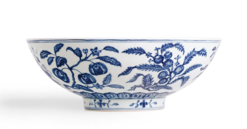 From the Meiyintang collection, A rare large blue and white 'fruit spray' bowl, mark and period of Xuande (1426-1435)2