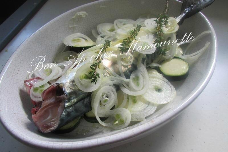 maquereau vin blanc courgette oignon saumon cocos plats 002