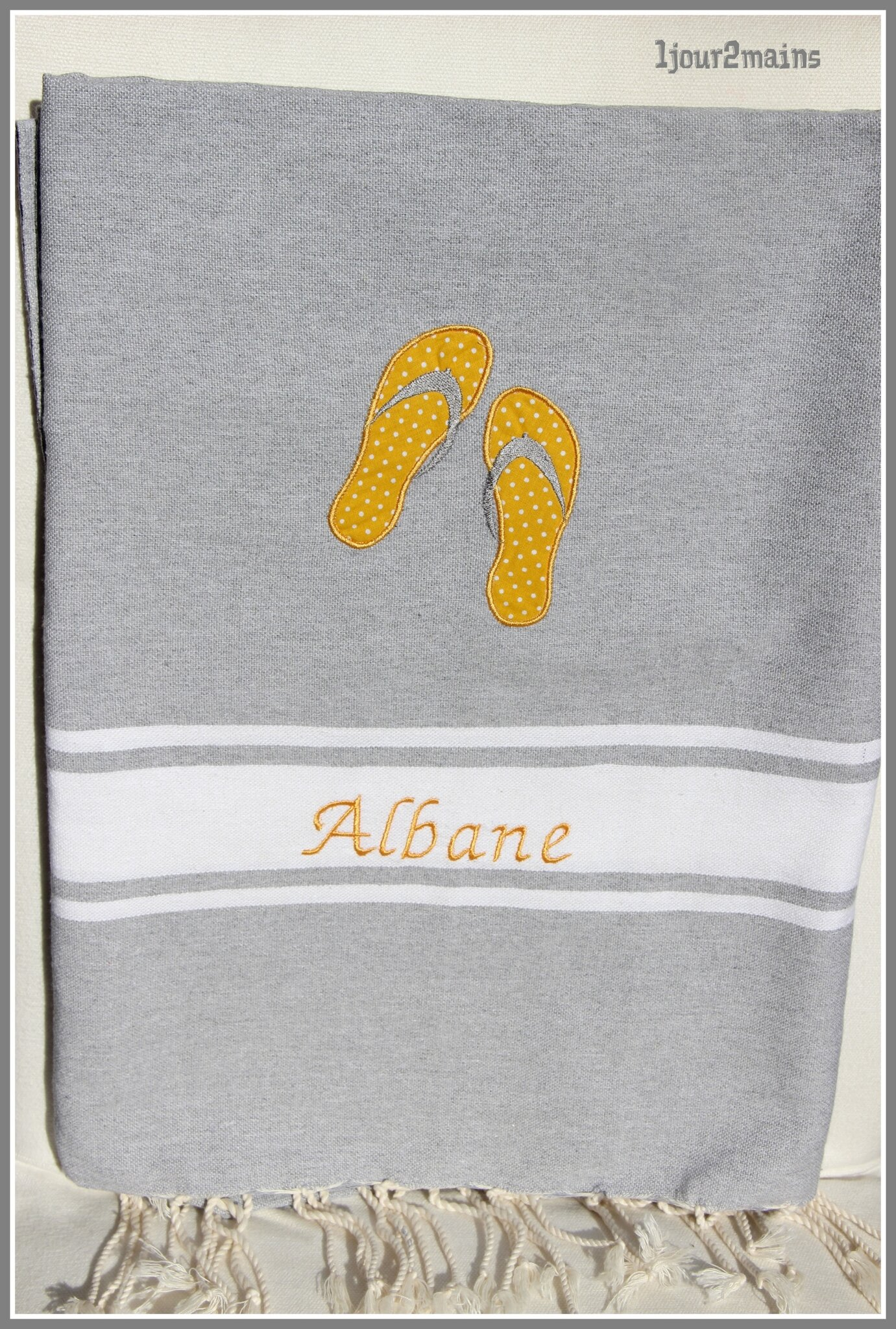 fouta grise tong albane