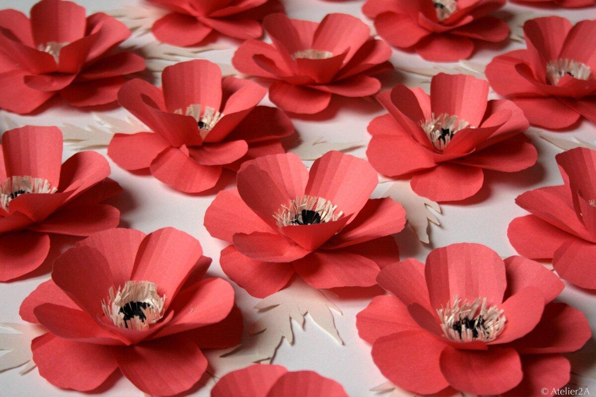 fabrication de fleurs en papier coquelicot en papier pour une d coration v nementielle. Black Bedroom Furniture Sets. Home Design Ideas