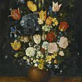 Jan brueghel the elder (brussel 1568 - 1625 antwerp), still life of flowers in a stoneware vase