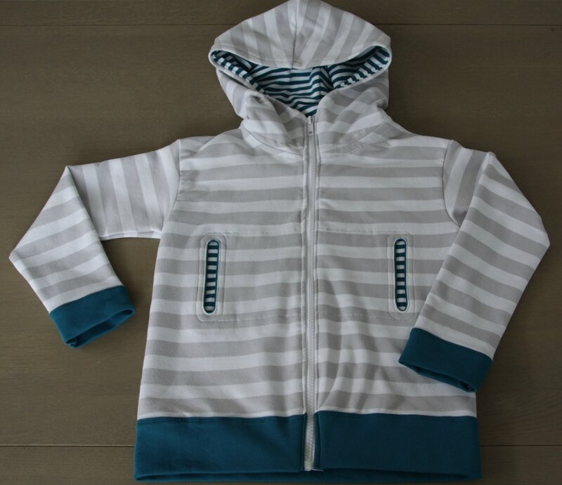 Gilet sweat capuche Block Stripes Ottobre lillestoff (2)