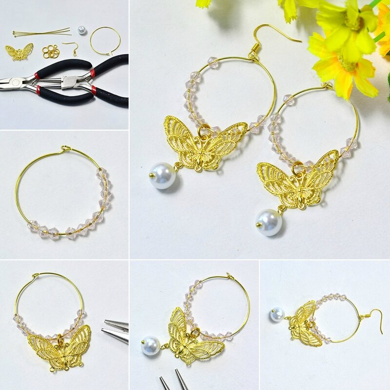 1080-Butterfly Hoop Earrings