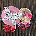 n°6 broche aluminium bouton rose
