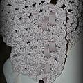 Snood rose pale et son ruban coton