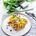 Spaghetti de courgette jaune à la menthe et feta