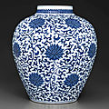 A large blue and white ovoid jar, qianlong six-character seal mark in underglaze blue and of the period (1736-1795)