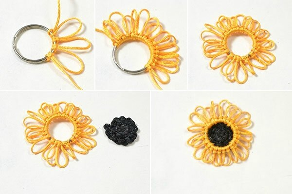 Pandahall Free Instructions on Making Charming Nylon Thread Braided Sunflower Bracelet (8)