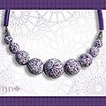 Collier effet mosaïque violet dif taille