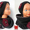 Ensemble bonnet & snood en polaire et satin