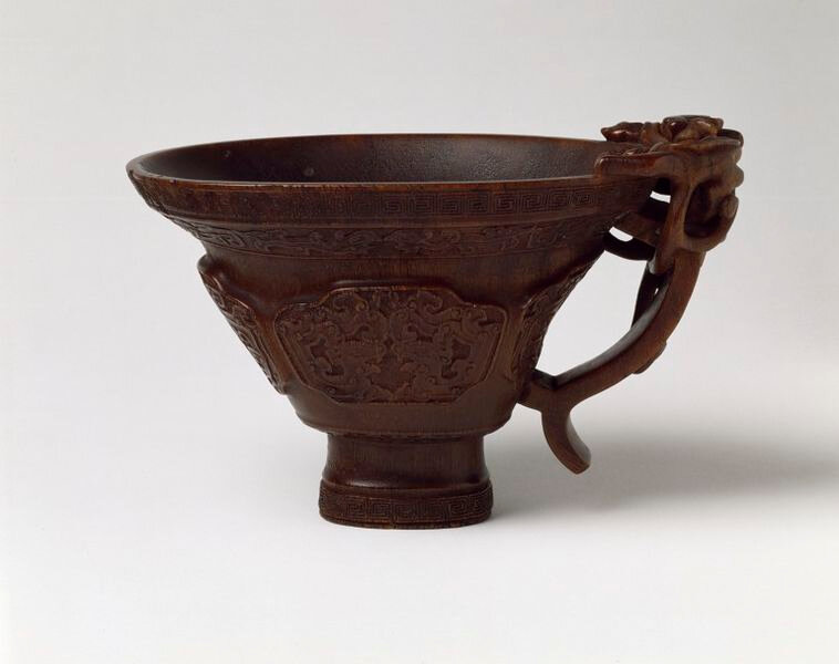 Hu Xingyue, Cup, carved rhinoceros horn, China, Qing dynasty, ca