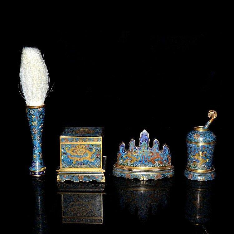 A Fine Set of Gilt Bronze and Cloisonné Enamel Scholars Garniture, Qing Dynasty, Qianlong1