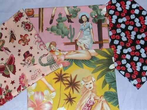 tissus import américains, pinupbeach jaune , dice, tattoo,pinup rodéo