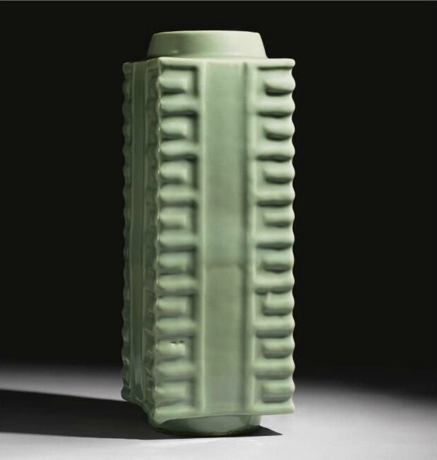 A Rare And Large 'Longquan' Celadon 'Cong' Vase
