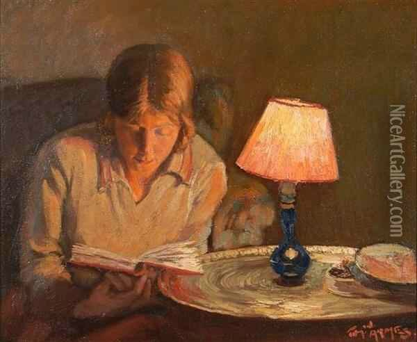 Tom Armes Thomas W Young girl seatedin a chair reading by table lamp