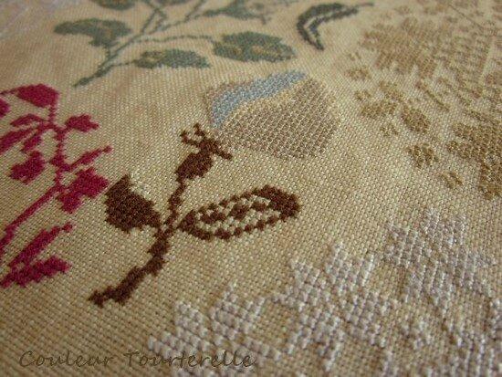 Mary Peacock sampler - Couleur tourterelle 3-4