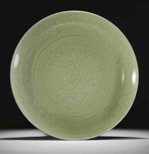 A large Longquan celadon carved dish, Ming dynasty, 15th century. Photo Christie's Image Ltd 2008
