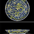 A blue-ground and yellow enamelled 'dragon' dish, mark and period of kangxi (1662-1722)