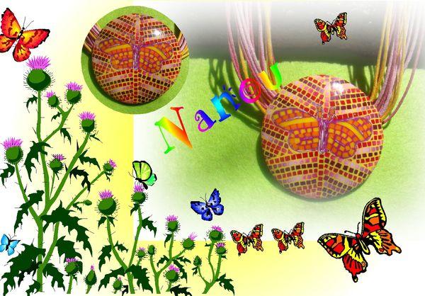 Collier papillon mosaïque