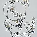 Bijoux mariage en volutes, arbesques argentées et perles de nacre