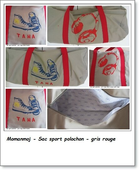 page sac sport gris rouge