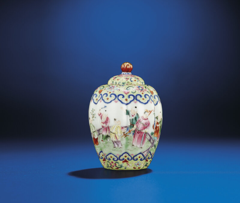 A fine small famille rose lobed jar and cover, Jiaqing iron-red six-character seal mark and of the period (1796-1820)