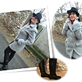 Manteau gris & bottes