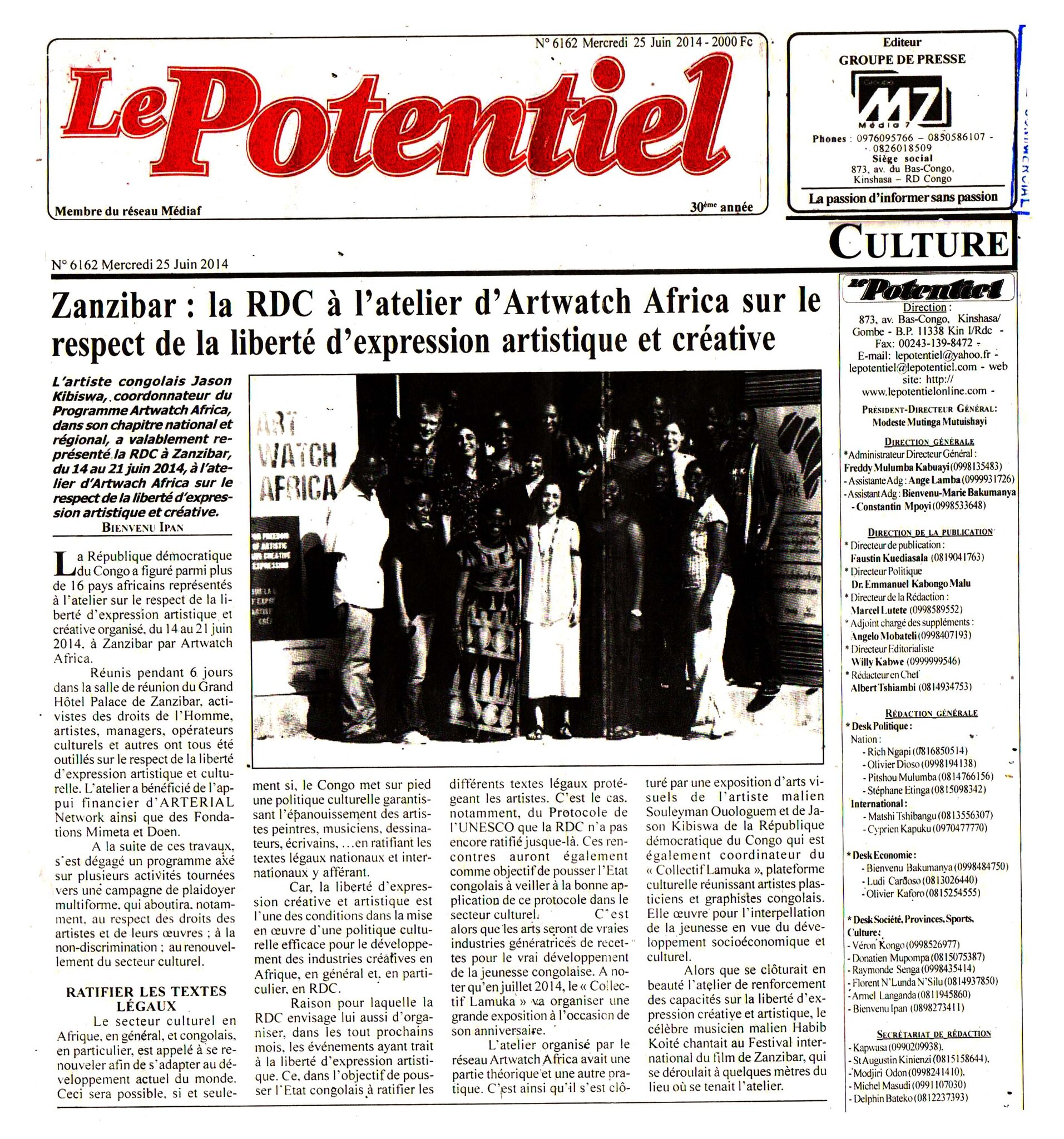 Un article dans le Journal Le Potentiel