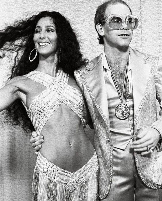 Elton John and Cher at the Grammys, 1975