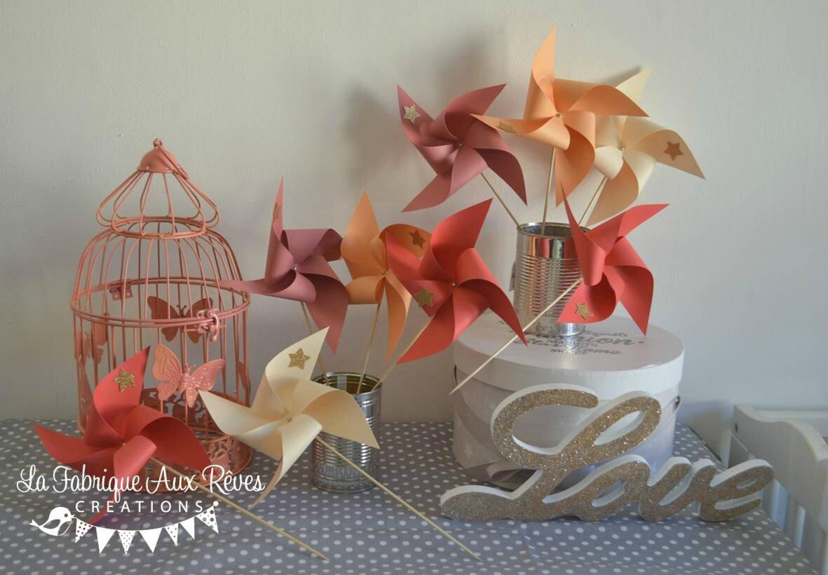moulin à vent corail pêche abricot beige décoration mariage baptême baby shower aniversaire chambre enfant bébé fille 2
