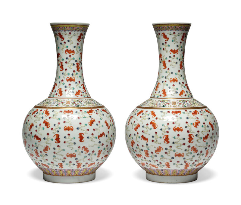 A pair of famille rose 'Hundred bats' bottle vases, Guangxu six-character marks in iron-red and of the period (1875-1908)