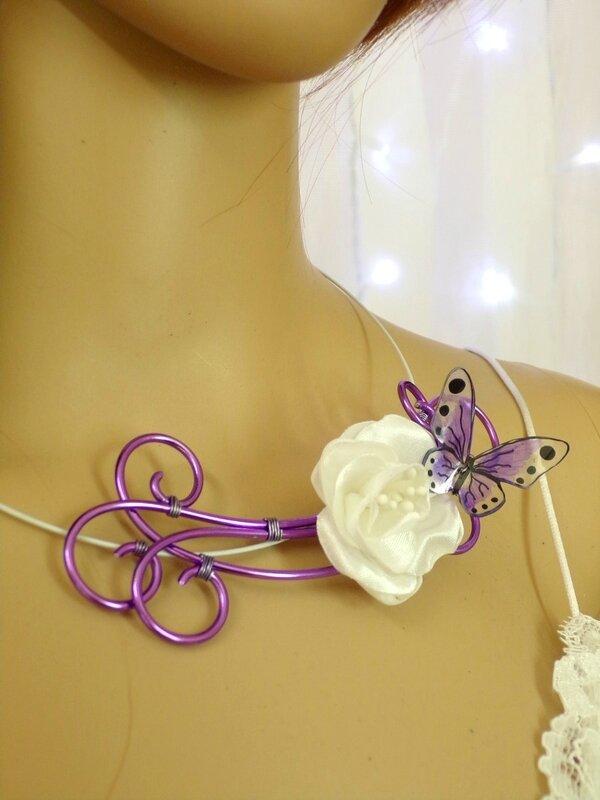 Collier papillon fleur mariée blanc