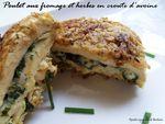 poulet aux fromages et herbes en croute d'avoine