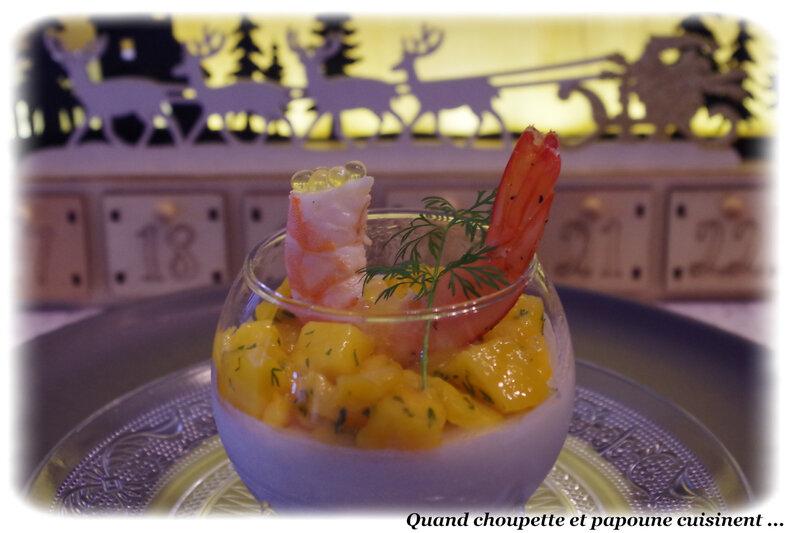 panna cotta salée , crevettes et dés de mangue-5324