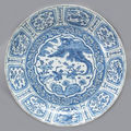 A large blue and white porcelain deep charger. wanli period
